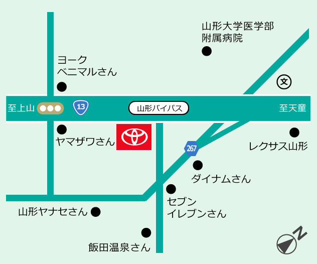 山形トヨペット サンパルテ(本社店)地図