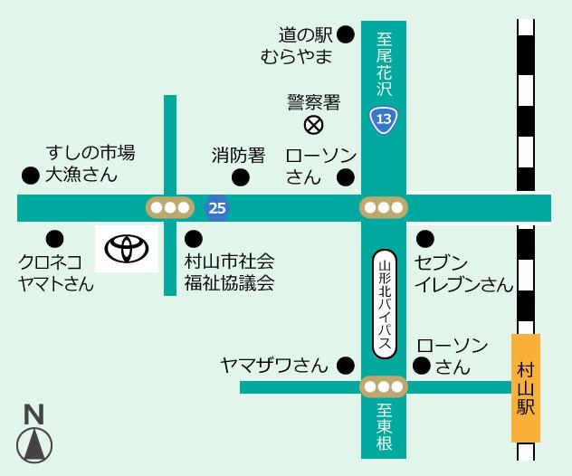 山形トヨペット 村山店地図