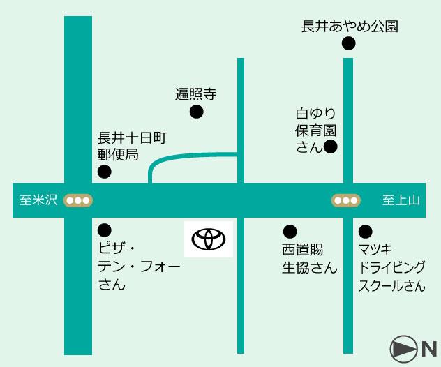山形トヨペット 長井店地図