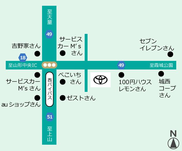 山形トヨペット 西バイパス店地図