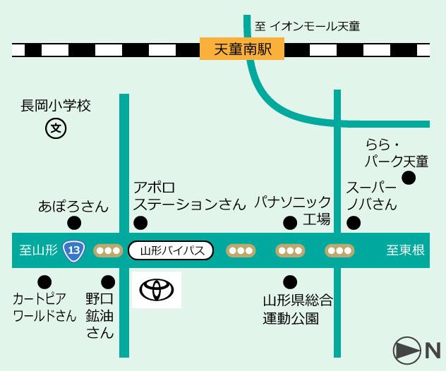 山形トヨペット T-UP天童U-Carセンター 地図