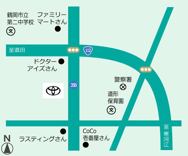 山形トヨペット 鶴岡店地図
