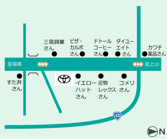 山形トヨペット 米沢店地図
